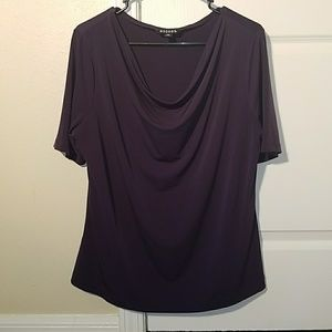 XL Purple Cowl Neck Short Sleeve Top